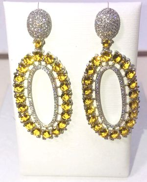 Natural Lemon 🍋 Citrine small round stones & .925 stamped sterling silver large oval dangle stud posts earrings NEW! for Sale in Carrollton, TX