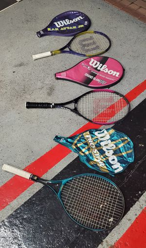 3 excellent condition Wilson tennis rackets with cases for Sale in Morton Grove, IL