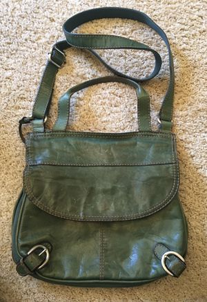 Vintage FOSSIL Green Leather Cross-body Messenger Organizer Purse Bag for Sale in Puyallup, WA
