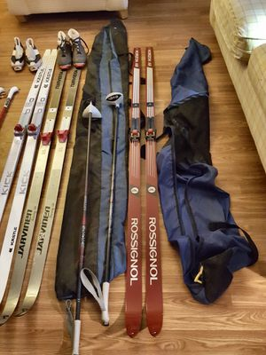 3 Pair of Cross County Skis with Poles 2 Bags Speed Wax Included for Sale in Oak Lawn, IL
