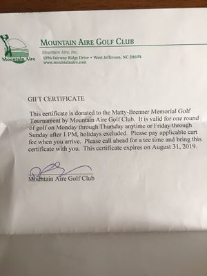 Free round of golf at Mountain Aire Golf Club for Sale in Greensboro, NC