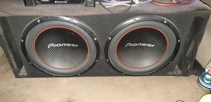 Amplifier, 2 12 pioneer subwoofer with box for Sale in Sanger, CA