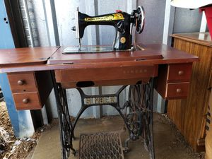 Antique Singer Treadle Sewing Machine In Cabinet, circa 1910 W/ Original Manual & Free Singer Sewing Chair for Sale in Plainfield, IL