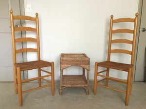 Wicker Chairs X2 + Wicker table for Sale in Concord, NC
