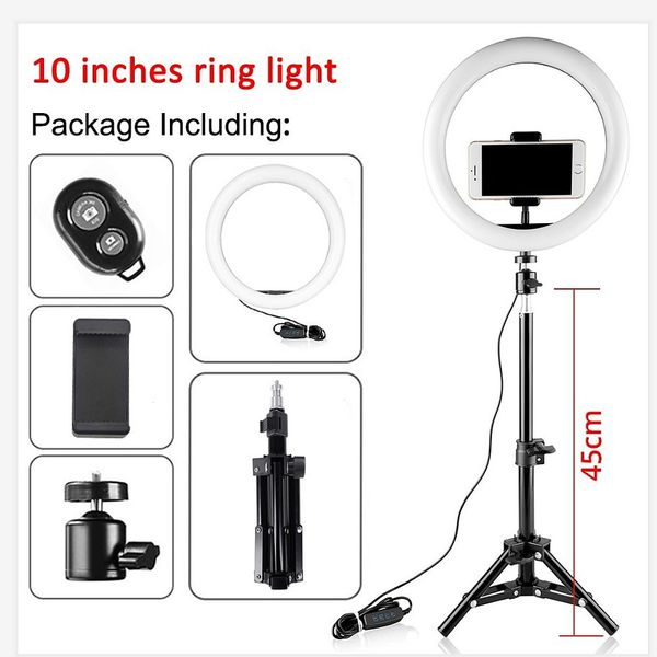 """BRAND NEW! 10"""" Ring Light Kit with 20"""" ExtendableTripod & Flexible Cell Phone Holder + FREE REMOTE!"""