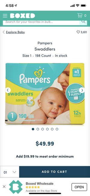 Pamper swaddlers #1 size 198 count for $40/- for Sale in Burlington, NJ