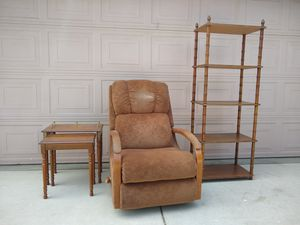 Tall Wood Teired Shelf, Nesting Wood Accent End Side Tables & Lazy Boy Accent Arm Chair for Sale in Modesto, CA