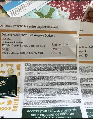 L.A. Dodgers vs. Oakland A's Spring Training Tickets for Sale in La Mirada, CA