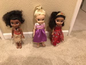 Princess Moana, Rapunzel, Elena Dolls for Sale in Chula Vista, CA