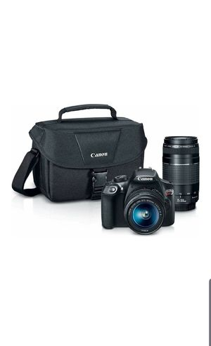 Canon Digital SLR Camera Kit [EOS Rebel T6] with EF-S 18-55mm and EF 75-300mm Zoom Lenses - Black for Sale in Houston, TX