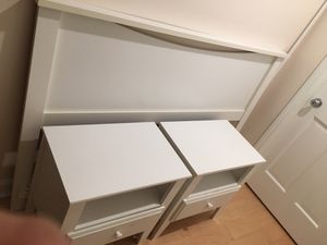 White Queen headboard and two night stands for Sale in Durham, NC