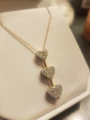 10k Pave Diamond Heart Necklace for Sale in Lexington, SC
