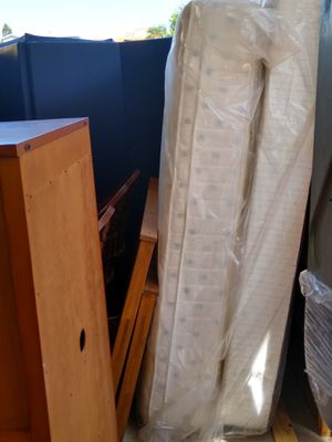 Full size Bed set. All wood Pottery Barn bed frame, box spring and mattress for Sale in Redington Beach, FL