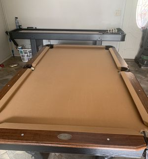 Pool table shuffle board table and basketball hoop game for Sale in Golden, NM
