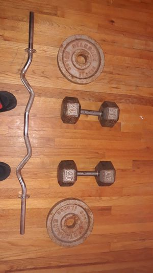 Two 40 pound dumbbells and two 25 pound weights with curlbar for Sale in South Bound Brook, NJ