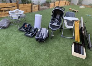 Baby stroller, diaper genie, safe baby bed frame! Feeding chair, baby wall etc! for Sale in Las Vegas, NV