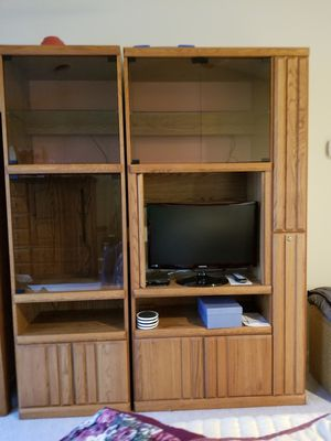 Solid oak 2 piece wall unit for Sale in Westminster, MD