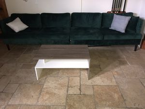 Green Suede Long couch in like new condition!!! Moving must go! for Sale in Austin, TX