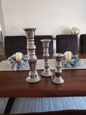 3 piece set silver Candleholders for Sale in Scottsdale, AZ