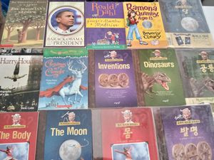 Dinosaurs, The Moon, Inventions, The body. English & Korean books. Christmas in camelot. Harry Houdini. Ramona age 8, etc Total : 14 books. for Sale in Monrovia, CA