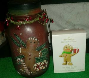 Gingerbread Man Votive Candle Jar / Hallmark Ornament 2012 ONE SWEET COOKIE for Sale in Hannibal, MO