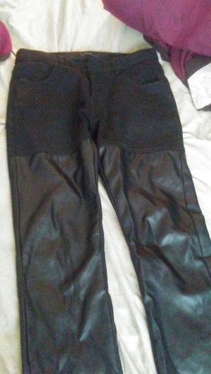 Black jean/leather mens pants size34 for Sale in Oxon Hill, MD