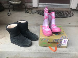Kids Ugg size 1 and Rain Boots size 12 for Sale in Wildomar, CA