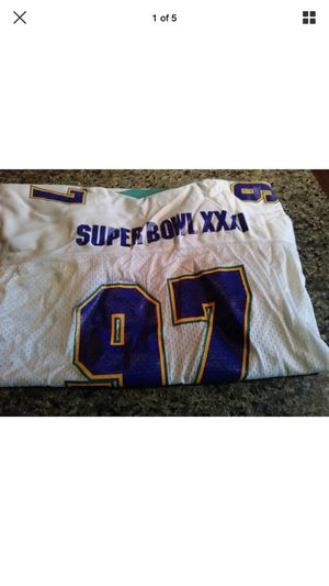 Super Bowl XXXI 97 White NFL Football Starter Jersey Vtg L/XL Patriots Packers for Sale in Monroe Township, NJ