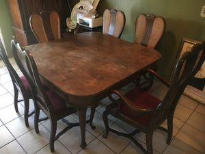 Antique 7 piece mahogany wood dinning set for Sale in Irwindale, CA