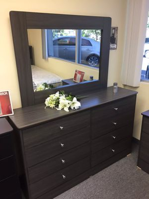 Compressed Wood Dresser and Mirror for Sale in Rancho Cucamonga, CA