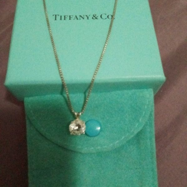Tiffany &Co Neckless Pendent 2 Carat Diamond Set In Sterling Silver