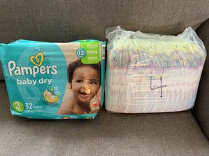 Pampers baby dry sz 3 and Pampers cruisers sz 4 for Sale in Aurora, CO
