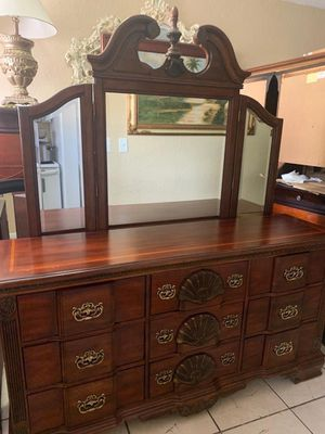 King bed frame dresser with mirrors chest drawers two night stand mattress with box springs for Sale in Miami, FL