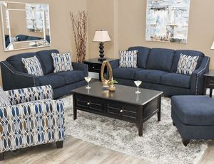 ❤️Only $50 Down Payment with Financing Approval! All Brand New Never Used Still in Box Ashley Sofa and Loveseat in Ink Blue Fabric with Beautiful Nai for Sale in Norfolk, VA