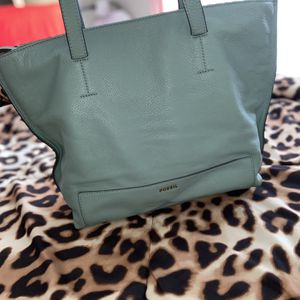 (Normal price $116) Fossil Madison Sea Glass Blue Leather Tote for Sale in Alexandria, VA