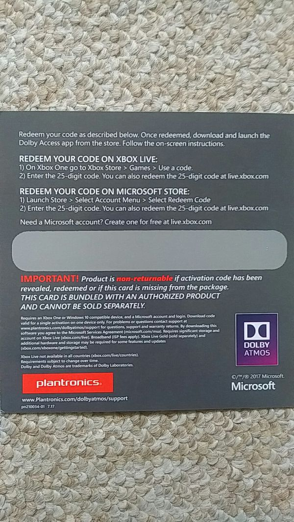 Dolby Atmos Download Code for Xbox for Sale in Dallas, TX - OfferUp