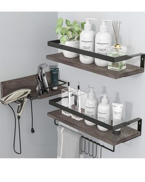 3 in 1 Rustic Floating Shelves, Decorative Storage Shelves with Towel Bar, Wall Mounted Shelves Holder for Bathroom, Kitchen & Bedroom - Set of 3 Sh for Sale in Colonial Heights, VA