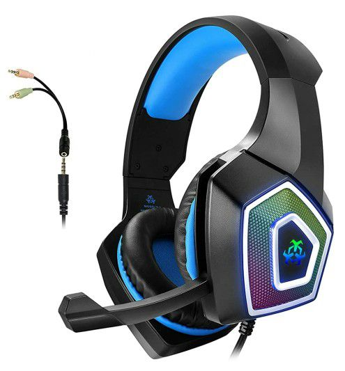 Gaming Headset with Mic for Xbox One PS4 PS5 PC Switch Tablet Smartphone, Headphones Stereo Over Ear Bass 3.5mm Microphone Noise Canceling 7 LED Light