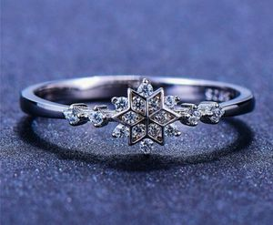 Snowflake Ring Stamped 925 Sterling Silver Zircon Stone Ring for Sale in Wichita, KS