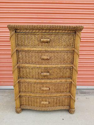 Wicker wood dresser for Sale in Huntington Beach, CA