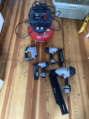 For Porter cable 6 gallon 150 psi compressorWith Framing gun staplegun and Brad nailer 18 gauge for Sale in Revere, MA