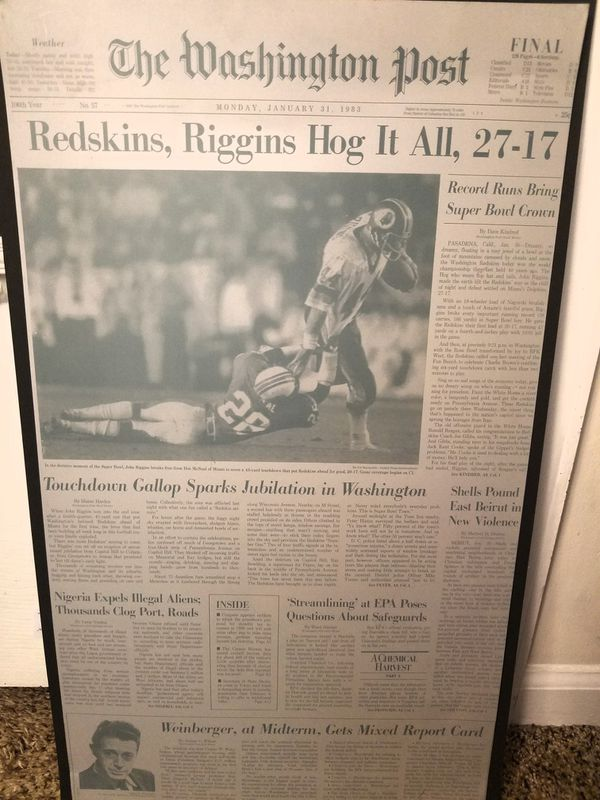 """Superbowl XVII Collectible Washington Post Printing Plate """"Redskins, Riggins Hog It All"""" Front page January 30, 1983"""