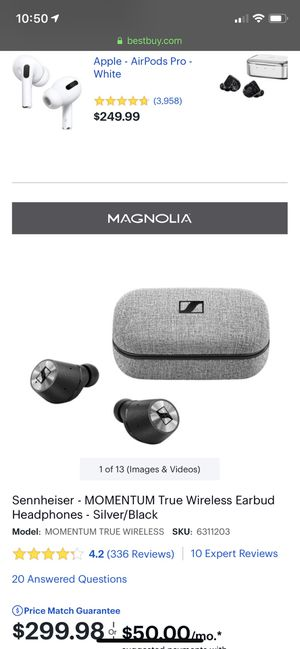 Seinheiser momentum wireless earbuds for sale for Sale in Irvine, CA