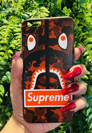 Brand new cool iphone 6+ PLUS case cover rubber silicone bape red supreme camo mens guys hypebeast hypebae womens girls hype swag for Sale in San Bernardino, CA