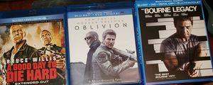 3 Blu-Ray DVD Movies Die Hard Bourne Oblivion for Sale in Renton, WA