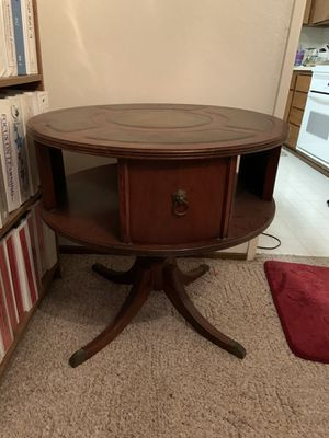 Antique mahogany leather top revolving Drum Table/Bookcase. for Sale in Port Costa, CA