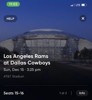 Cowboys tickets for 12/15 game! 2 tickets for Sale in Garland, TX
