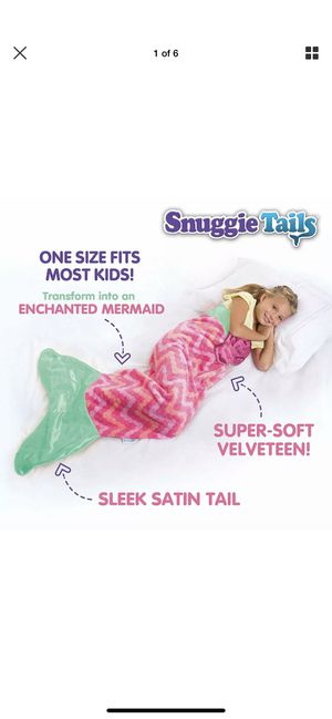 Snuggie Tails Mermaid Blanket Kids Pink Sleep Costume Gift One Size Velveteen for Sale in San Bernardino, CA