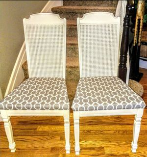 6 White Caneback & Gray Padded Dining Chairs. for Sale in Arvada, CO