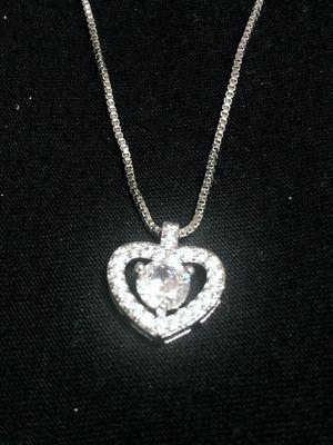 Sterling Silver necklace / CZ inside heart Pendant for Sale in Las Vegas, NV